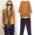 Scarf! New Autumn Spring Women's Pants Suits Loose Design Blouses Casual Plaid Pants Set Laides Elegant  Workwear 14OCT027