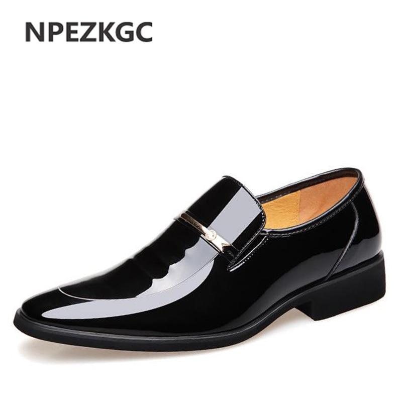 NPEZKGC Brand High Quality Men Oxford Men Leather Dress Shoes Fashion Business Men Shoes Men Dress Pointed Shoes Wedding Shoes