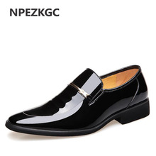 NPEZKGC Brand High Quality Men Oxford Men Leather Dress Shoes Fashion Business Men Shoes Men Dress Pointed Shoes Buty ślubne
