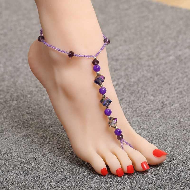 Essencial menina das mulheres descalço sandália pé jóias roxo contas de cristal de vidro frisado trecho tornozeleira corrente único