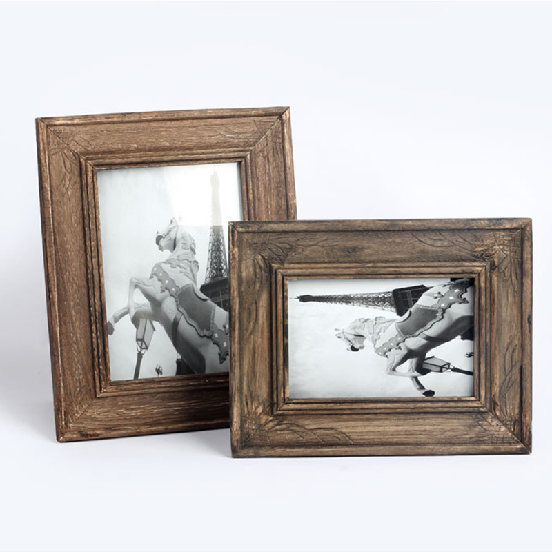 tanghome retro photo frame handmade solid wood frame creative gift home decor desktop pictures vintage frame