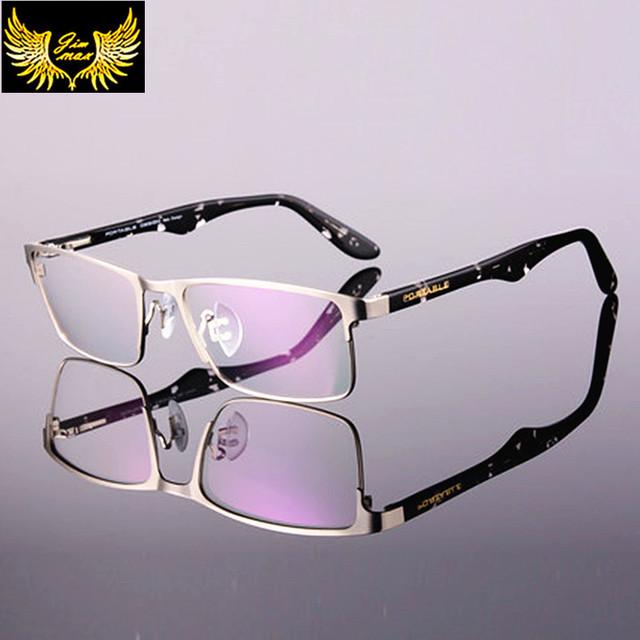 2016 Nuevos Hombres de la Llegada de Titanio Estilo Permiten Media Llanta Marco Óptico Anteojos Gafas de Diseño de Moda de Los Hombres Ocasionales para hombres