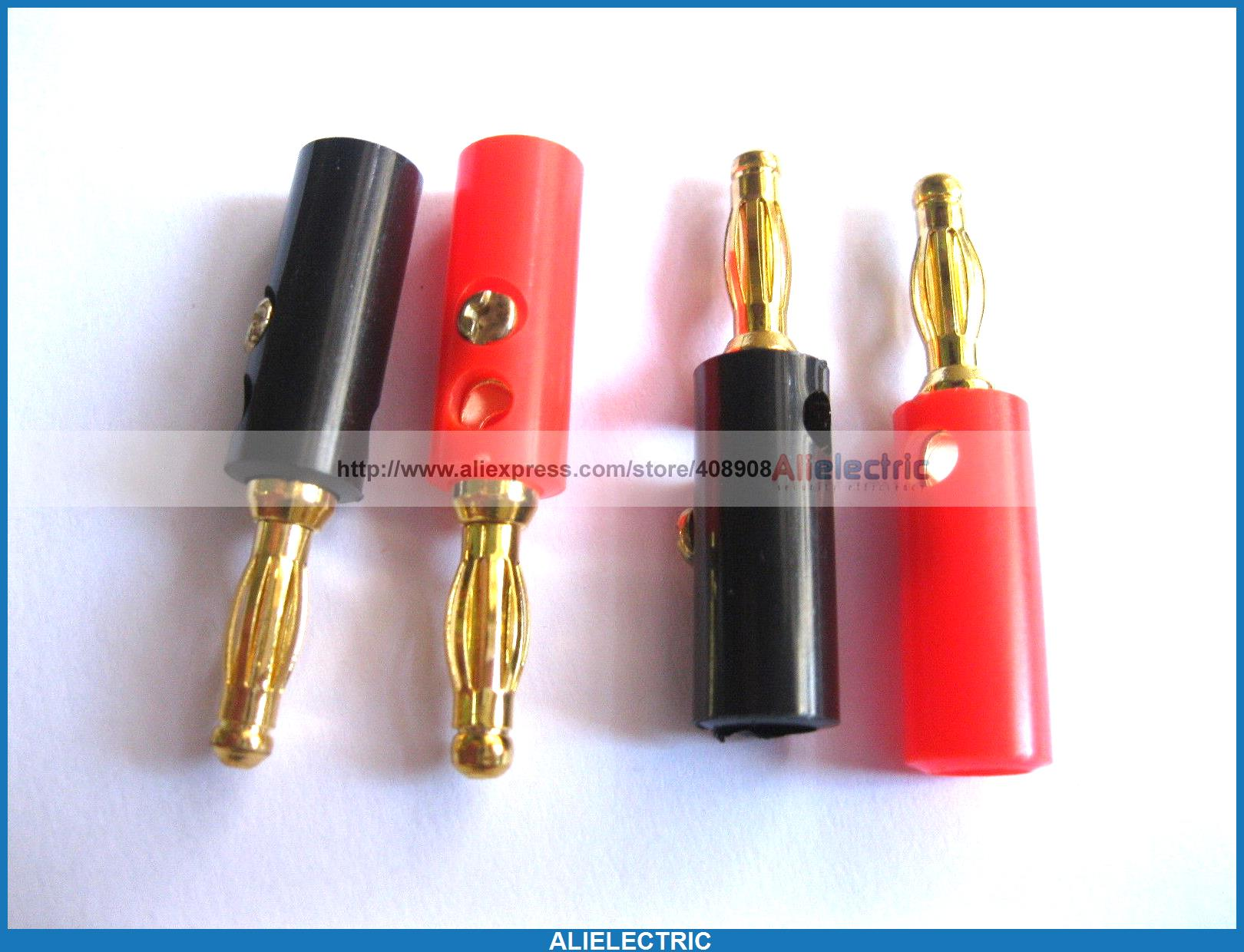 80 Pcs Banana Plug Gold Plated Red Black 40mm 215