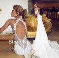 Romántica espalda abierta de encaje vestidos trompeta sirena cariño apliques cuentas 2015 novia de gasa vestido yk8R874
