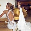Romântico abrir voltar Lace vestidos de casamento da sereia Trumpet querida Applique Beads 2015 Chiffon vestido de noiva yk8R874