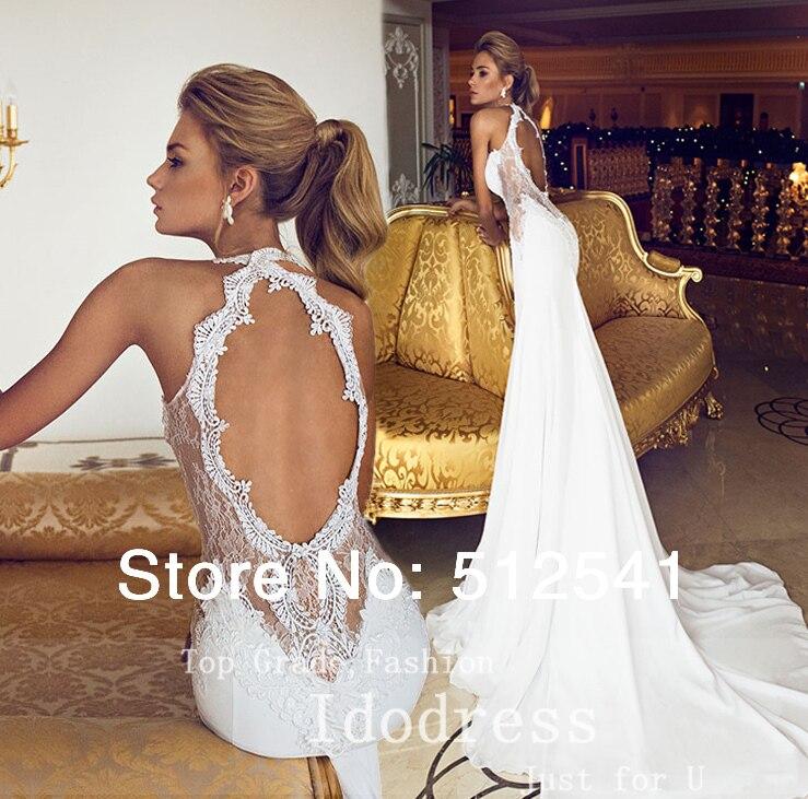 Lace Wedding Gown Open Back: Romantic Open Back Lace Wedding Dresses Mermaid Trumpet