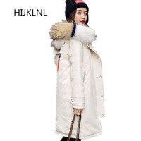 2018 Новый Для женщин Зимняя куртка пуховик длинная куртка с секциями свободные большой меховой воротник с капюшоном внешний толстые теплые