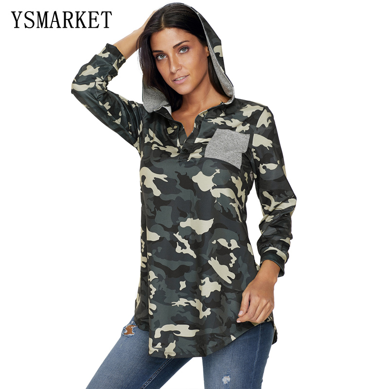 YSMARKET Camouflage Women Brief Button V Neck Sweatshirt Hoodies Pullover Long Sleeve Casual womens hoodies E250395