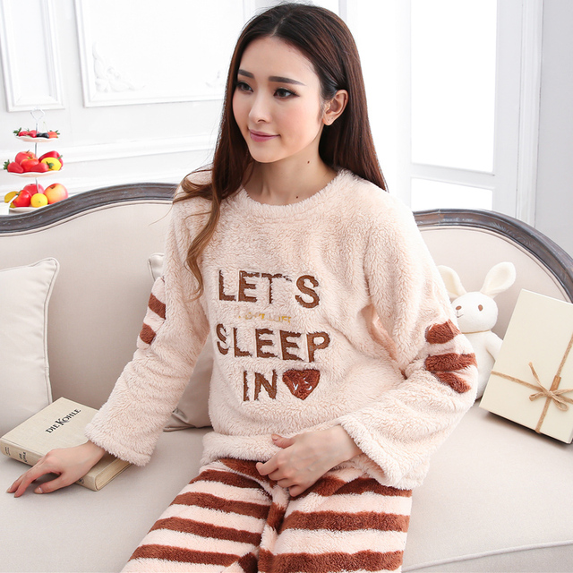 59f9e7ea005 Free Shipping! Autumn and winter flannel pajamas thickening women flannel pajama  sets sleepwear female girl coral fleece pajamas