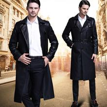 Korean autumn winter black thicken casual leather coats men slim ouble breasted long coat mens leather trench coats fashion 4XL winter slim motorcycle long leather coats men casual double breasted coat mens leather trench coats lapel black fashion m 3xl