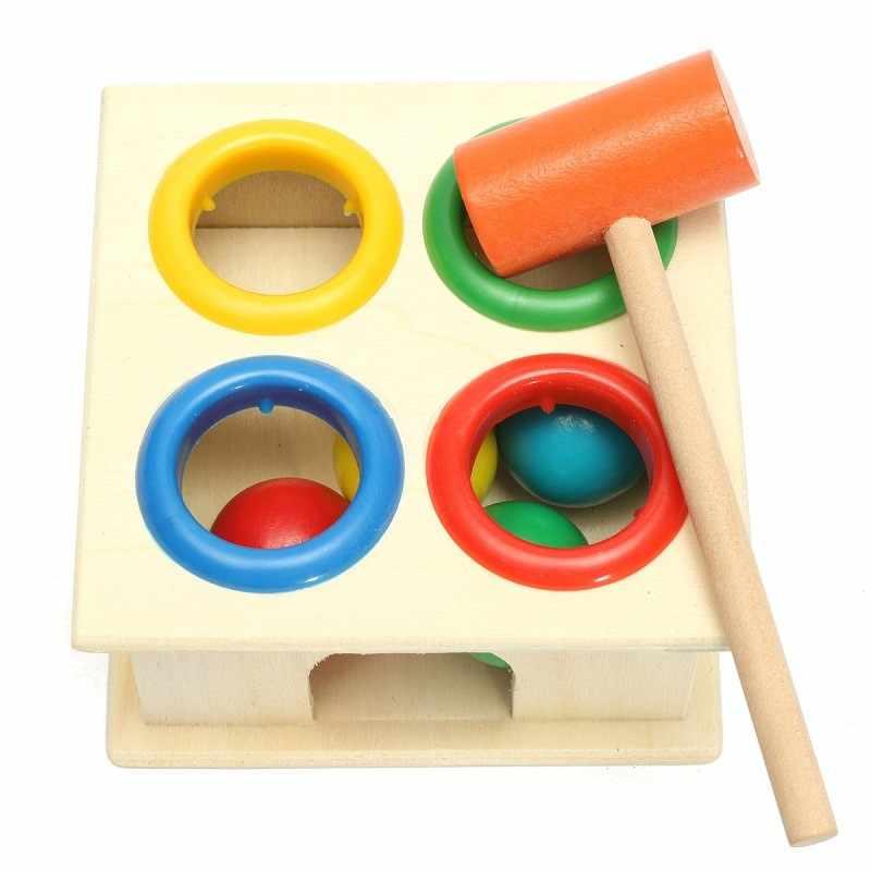 Ahşap vuruş çekiç oyuncak haddeleme topu çekiç kutusu erken öğrenme eğitim entelektüel gelişim oyuncaklar çocuklar için hediye