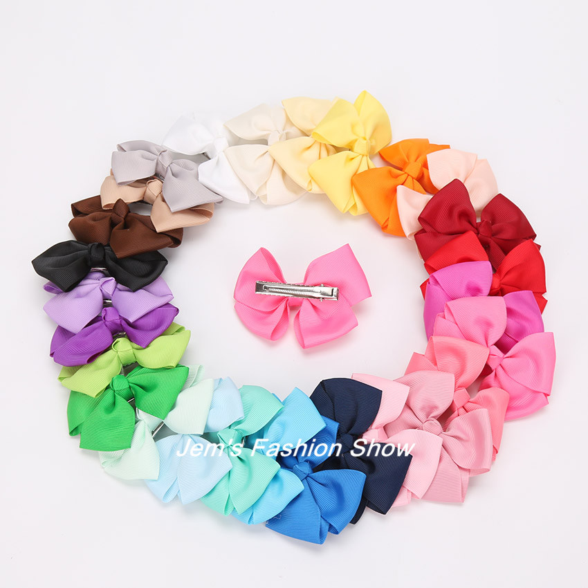 Girls Grosgrain Satin Dovetail Ribbon Bowknot Hair Pin Bows with Duckbill Clip Girls' Hair Accessories Boutique Bows