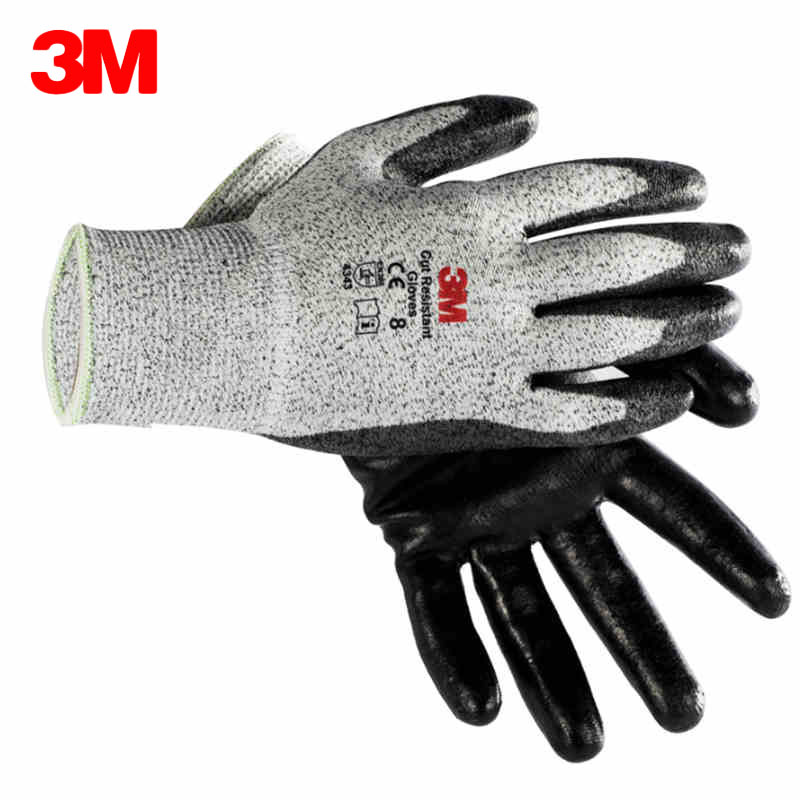 3M Cut resistant Gloves Comfort Grip Safety Work Gloves Anti-cut Level 3 Nonslip Wear-resistant Working Protective Glove Size ML anti cut resistant ansi cut 4 work glove en388 level 5 hppe liner with micro foam nitrile coating working safety glove 40pairs