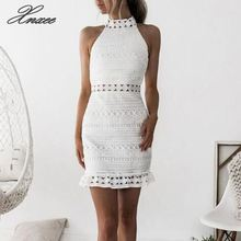 Women White Lace Dress Summer Sleeveless Bodycon Dresses Stand Neck Hallow Out Sexy Short Mini Dress striped scoop neck mini bodycon dress in white