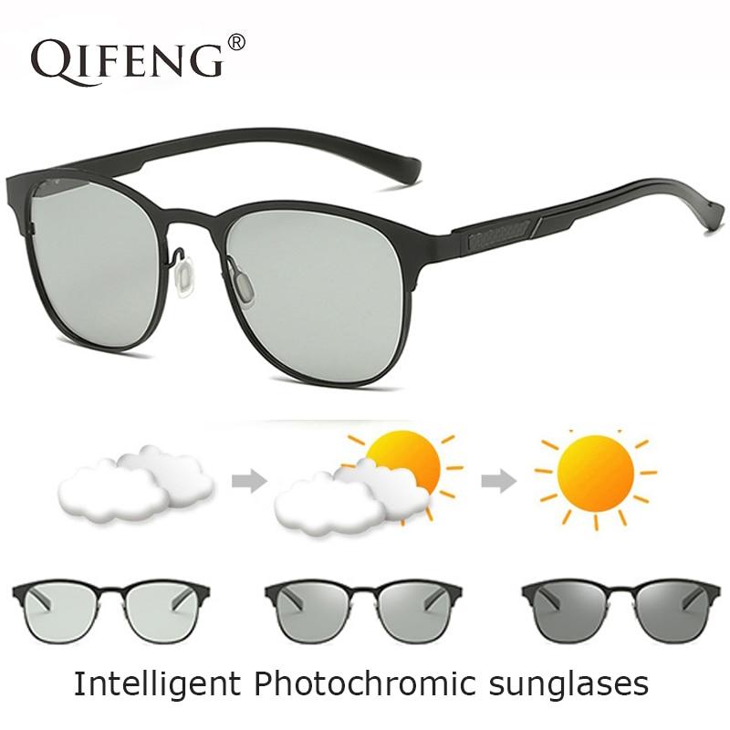 QIFENG Polarizados Fotocromáticas Óculos De Sol Dos Homens Motorista Óculos  de Sol Das Mulheres Da Marca 953e9cefd4