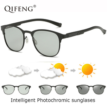QIFENG Polarized Intelligent Photochromic Sunglasses Men Women Brand Driver Sun Glasses For Male Driving Fishing Oculos QF177