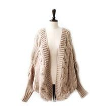 Autumn Winter Women Sweaters  Bat Sleeve Cardigan Knitting Loose Ladies Elegant Knitted &
