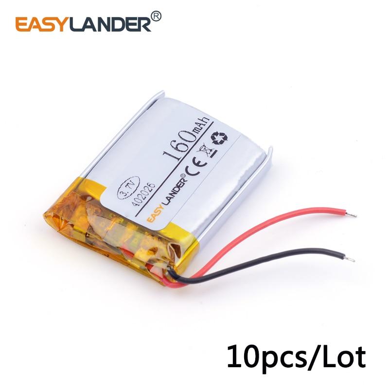 10pcs/Lot 3.7v lithium Li ion polymer rechargeable battery 402026 160mAh polymer battery 3.7V, dedicated Bluetooth headset