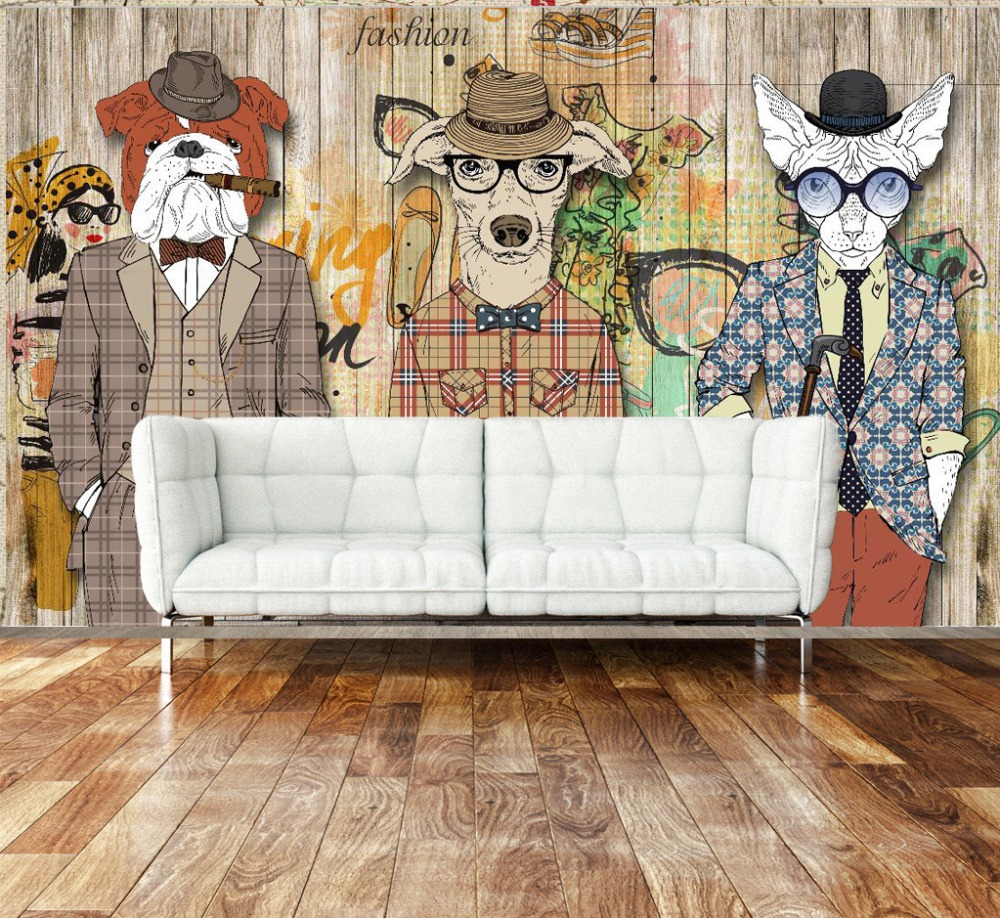 Graffiti art on wood - Aliexpress Com Buy Abstract Art Wallpaper Wood Plank Retro Nostalgia Animal Dog Clothing Bar Backdrop Wallpaper Mural Graffiti From Reliable Mural