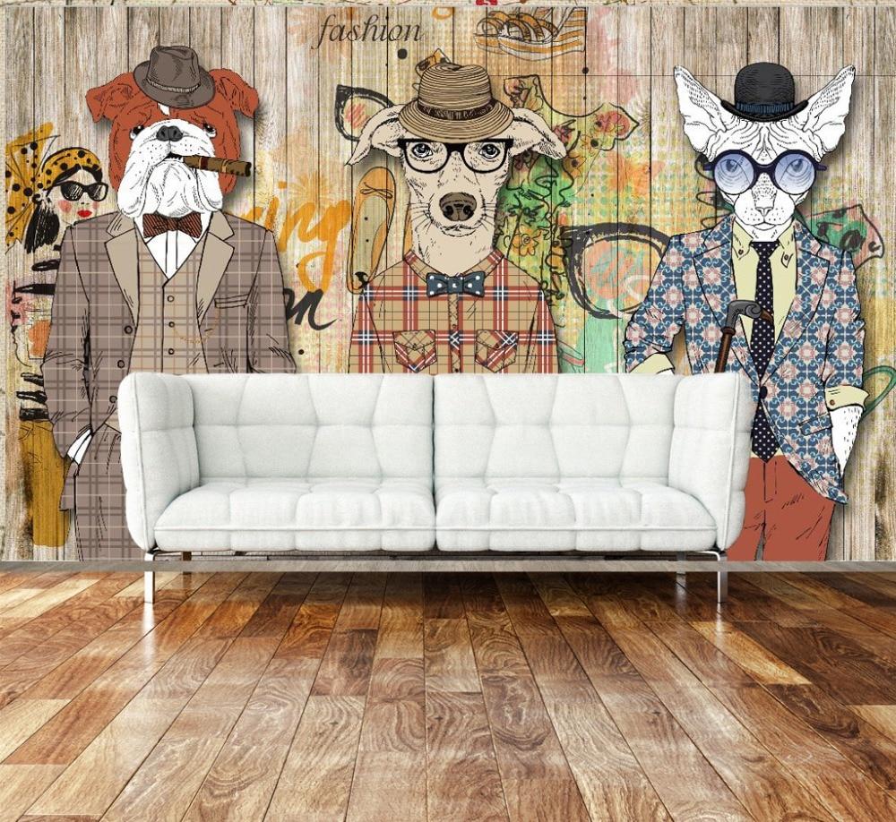 Graffiti art on wood - Abstract Art Wallpaper Wood Plank Retro Nostalgia Animal Dog Clothing Bar Backdrop Wallpaper Mural Graffiti