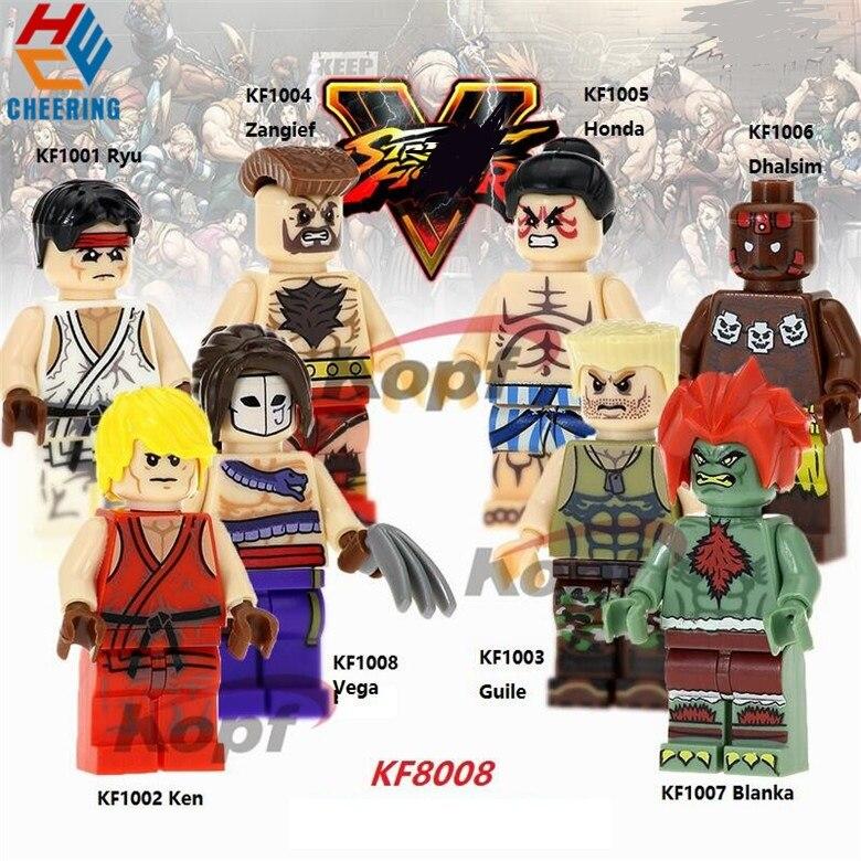 Single Sale Building Blocks Ryu Zangief Honda Dhalsim Ken Vega Guile Blanka Figures Bricks Action For Children Gift Toys KF8008