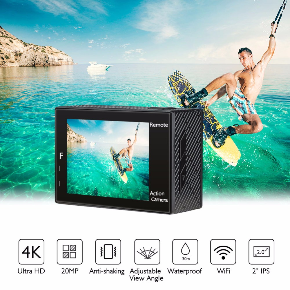 AKASO Brave 4 Action camera Ultra HD 4K WiFi 2.0 170D 20MP Underwater Waterproof Helmet Cam Camera Sport Cam akaso ek7000 action camera ultra hd 4k wifi 1080p 60fps 2 0 lcd 170d lens helmet cam waterproof pro sports camera