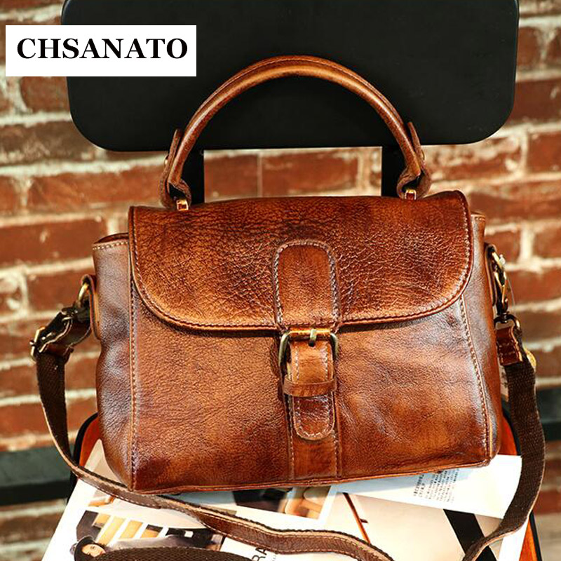 CHSANATO Crossbody Bag For Women Messenger Bags 2018 Vintage Real Leather Bags Handbags Women Famous Brand Small Shoulder Sac 2017 new designer famous brand bag for women leather handbags ladies shoulder bag small crossbody bags woman messenger bags sac