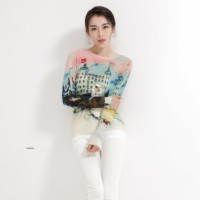 NewFemale Printed Cartoon Embroidered Bottom Wool Sweater Pullover with Round Neck Sweater Korean Edition Long Sleeve Top