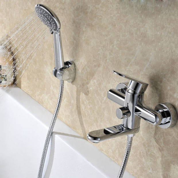 Bathtub Wall Mounted Chrome Finish Rustic Solid Brass Hot and Cold Water Mixer with Handheld Shower Head Mixer Valve Bathroom