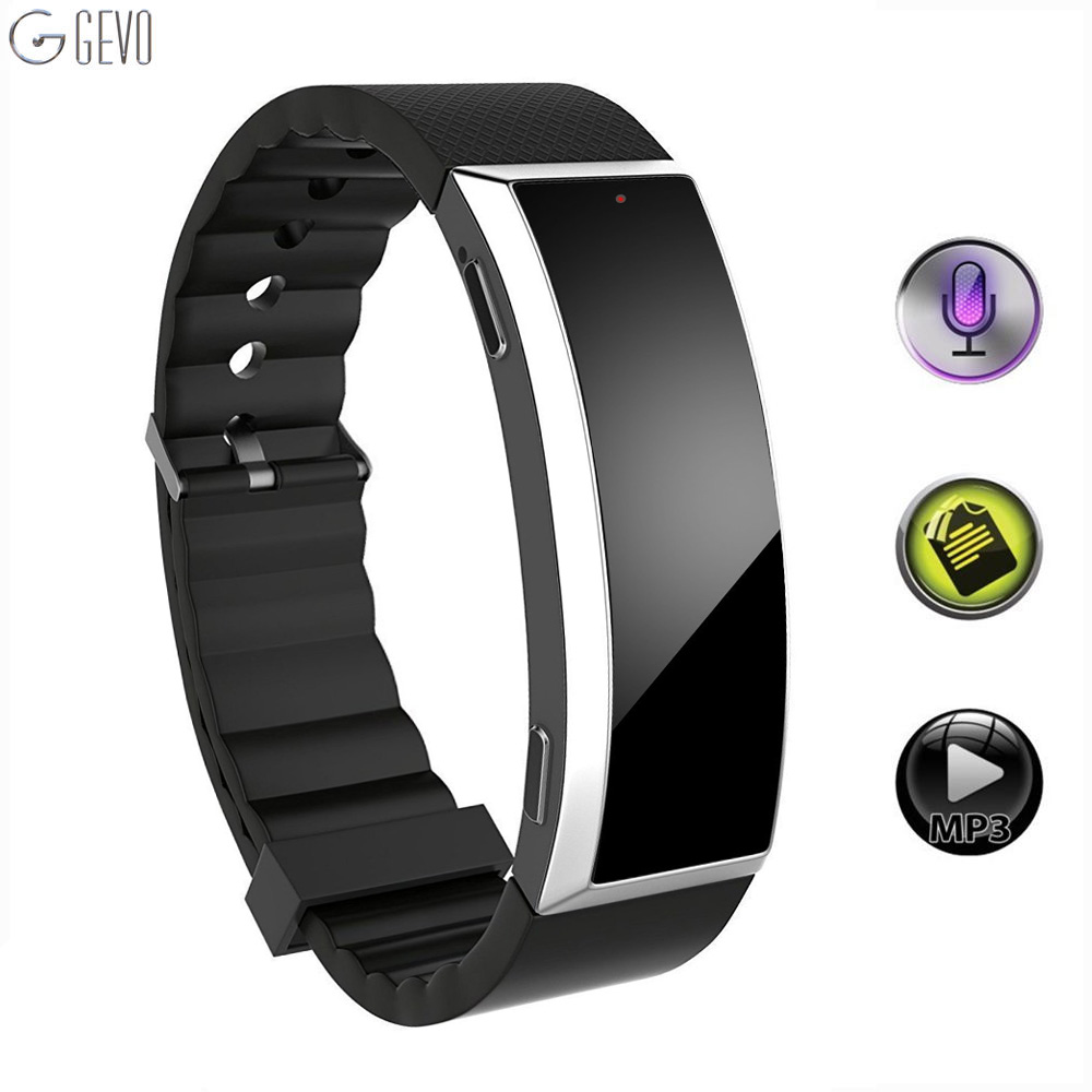 GEVO 8G Digital Voice Recorder Wristband MP3 Music Player Voice Activated Recorder Tecnologia indossabile per lezioni sportive di classe