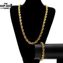 Oro Y Plata de Color 10mm 6mm Cuerda Cadena Establecer hombres Y Mujeres Collar de Cadena de Oro de Alta Calidad Punk Cuerda cadena