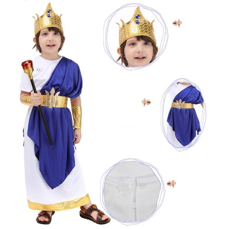 Costume romain ancien pour la fête des enfants Halloween Cosplay Party grec Neptune jeu de rôle - 5
