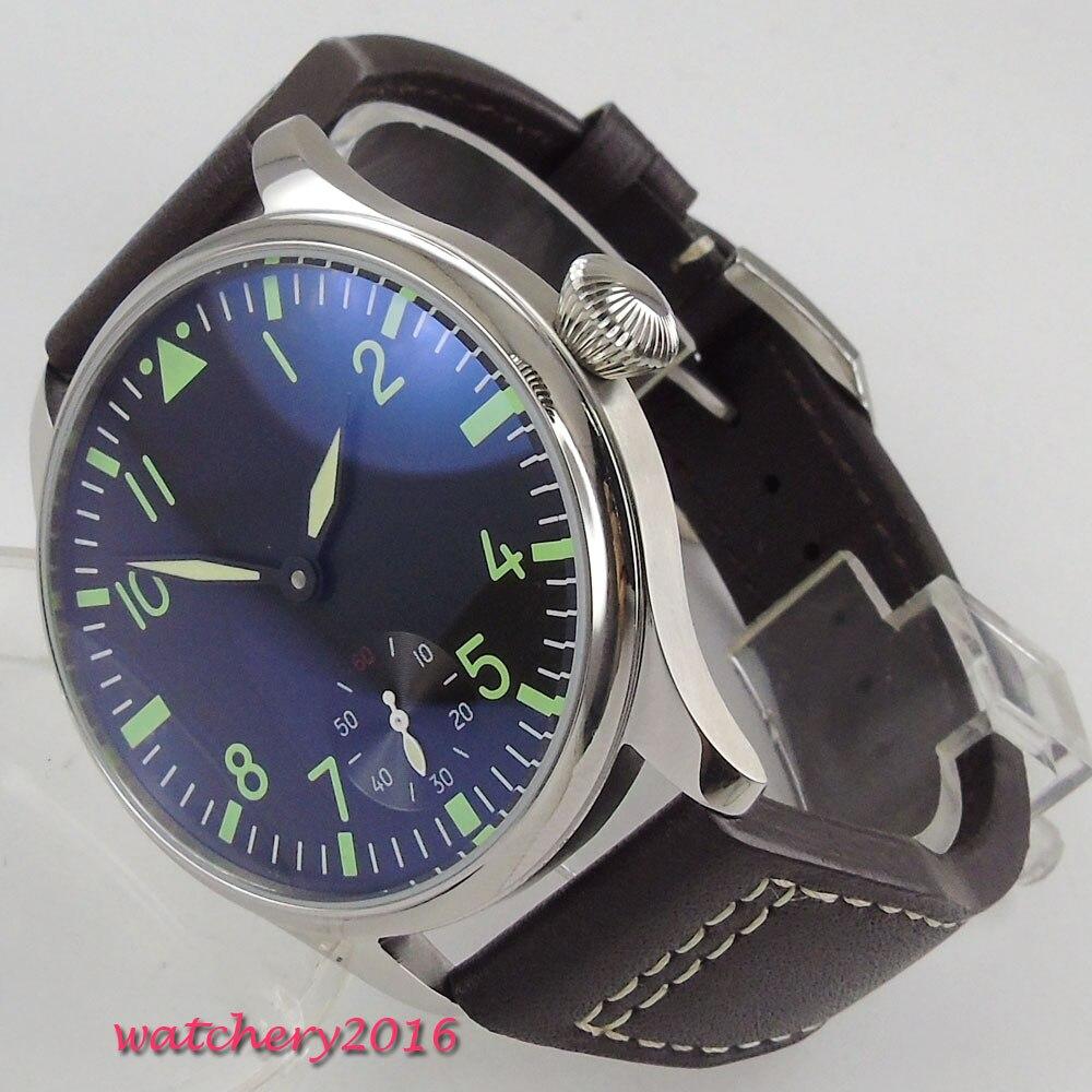 лучшая цена 44mm Parnis Black Dial Green marks Stainless steel Case Leather strap Valentines Sweet 6498 Hand Winding Mechanical men's Watch