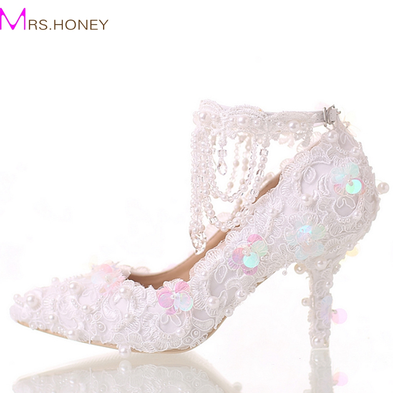 Beautiful White Bride Shoes Lace Platform Formal Dress Shoes with Ankle Straps Glitter Sequins Party Prom Pumps Pointed Toe dd001891 beautiful white