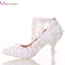 Schöne Weiße Braut Schuhe Spitze Plattform Formelle kleidung Schuhe mit Ankle Straps Glitter Pailletten Party Prom Pumpen Spitz