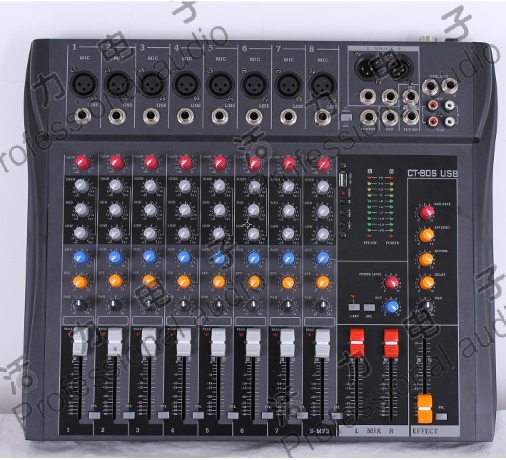 MT82CX USB stage performance 8 professional mixer audio console KTV with font b MP3 b font