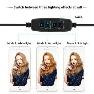 """Image 5 - 12 """"LED anneau lumière photographie Dimmable anneau lampe pour vidéo en direct ringlight avec trepied ue/US avec 110CM trépied support + 2 sac"""