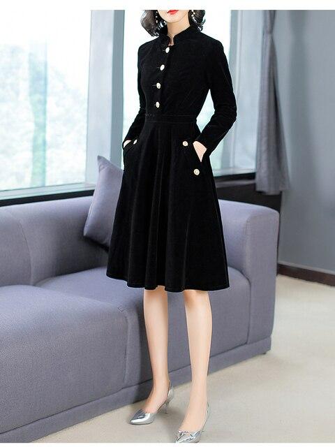 2e167853d298b Autumn vintage stand collar long sleeve velvet dress 2018 Fall collection  elegant black dress women dresses D369-in Dresses from Women's Clothing &  ...