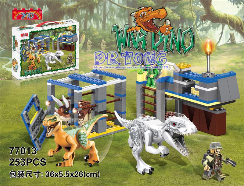 DR.TONG Building Blocks Jurassic World Figures Big Tyrannosaurus Rex Dinosaur Police CS Weapons Bricks Toys Child Gifts Ye77013 bwl 01 tyrannosaurus dinosaur skeleton model excavation archaeology toy kit white
