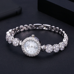 Image 1 - jankelly  Qualtiy AAA Zircon Elements Leaf Austrian Crystal Bracelet Watch for Wedding Party Fashion Jewelry Made with Wholesale