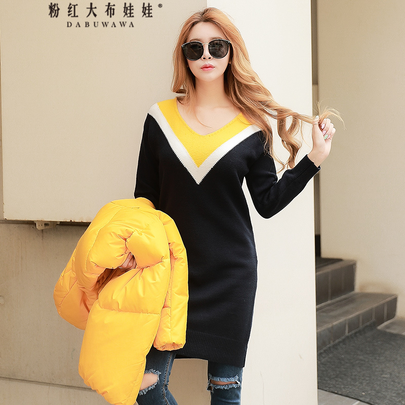 original 2018 brand new winter fashion casual long sleeved v neck collar hit color knitted dress women wholesale