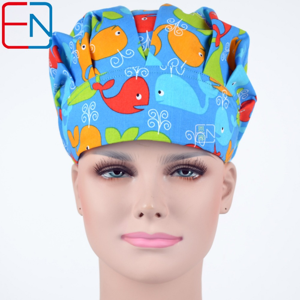 Hennar Scrub Caps 2018 New 100% Cotton Surgical Bouffant Caps For Women Doctor Nurse Medical Surgical Masks Womens Printed Caps