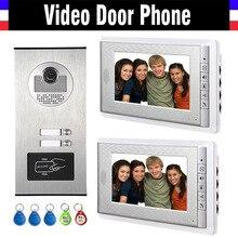 2 Units Apartment Intercom System Video Intercom Video Door Phone Kit HD Camera 7 Inch Monitor with RFID keyfobs for 2 Household