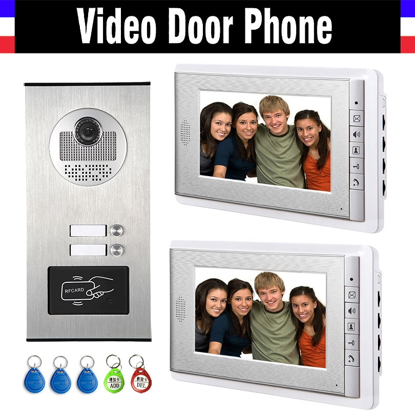2 Units Apartment Intercom System Video Intercom Video Door Phone Kit HD Camera 7 Inch Monitor with RFID keyfobs for 2 Household