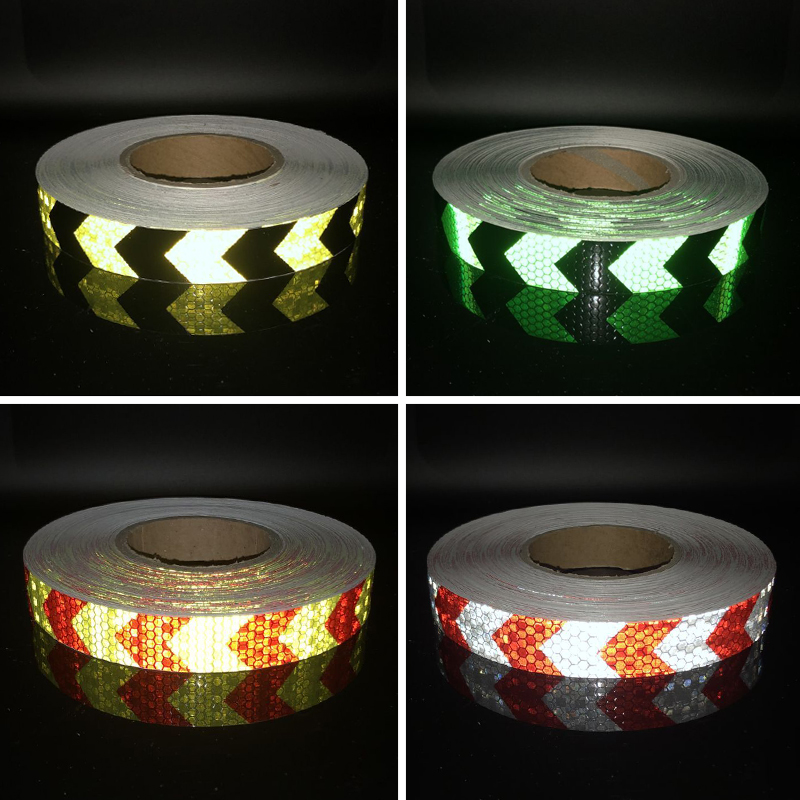25mmx10m Shining Reflective Warning Self-adhesive Stikcer With  Color Arrow Printing For Car