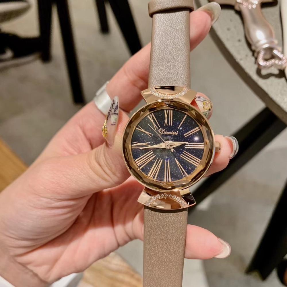 Nouvelle marque femmes mode montres Multi facettes cristaux de verre Montre-bracelet mode bonbons couleurs véritable Montre en cuir Montre romaine