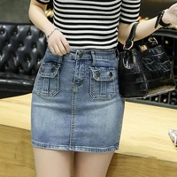 2016 Summer Fashion Trend Women Denim Skirts Jean Mini Skirt Sexy Girls Cowboy Package Hip High