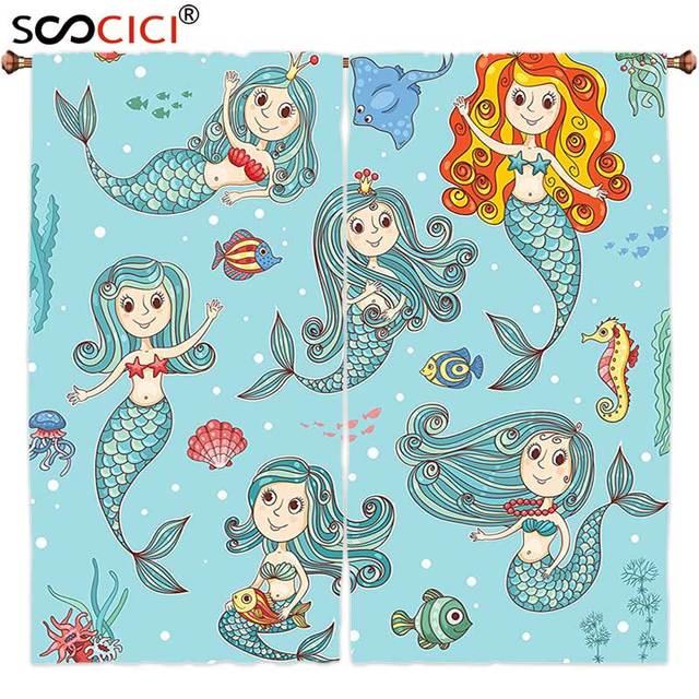 Gordijnen Behandelingen 2 Panelen, Mermaid Decor Leuke Collectie van ...