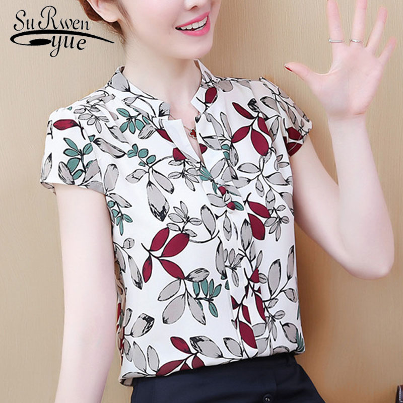 2019 New Women Tops And   Blouses   Short Sleeve Stand collar   Blouse   Print Casual Office Work Lady Loose Chiffon   Shirt   tops 3043 50