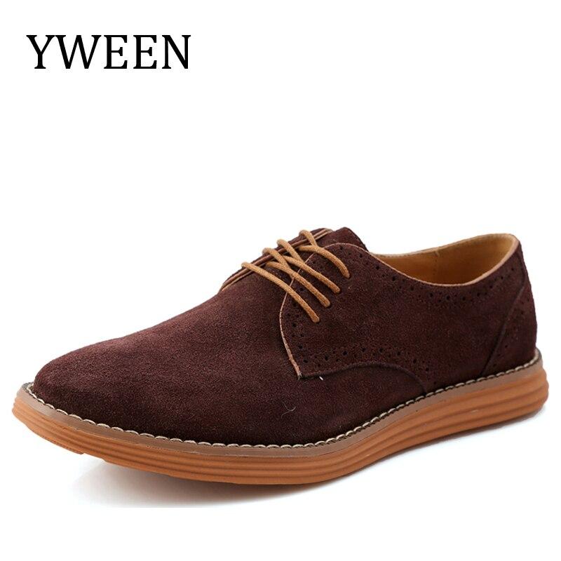 Yween повседневная обувь на плоской подошве для Для мужчин Демисезонный Кружево-Up Стиль топ модные замшевые Обувь с перфорацией типа «броги» …
